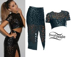 Ariana Grande Outfit- She posed in a photoshoot recently for Jones Crow wearing a Sierra Crop Top ($98.15) and a matching Sierra Pencil Skirt ($169.57).