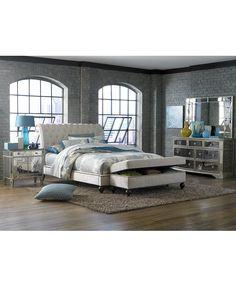 Marais Mirrored Furniture, King 3 Piece Set (Bed, Mirrored Console and Mirrored Small Chest) - Furniture - Macy's