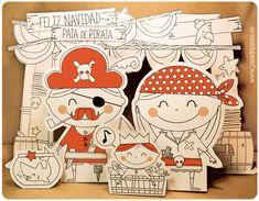 Ilustración, orlas, Invitaciones bautizo, comunión, cumpleaños, diseño grafico: LOS DIBUS DEL PIRATA #19