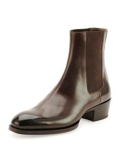 N2X5J Tom Ford Chelsea Boot with Western Heel, Black