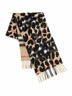 Burberry - Exploded Check & Leopard Print Scarf