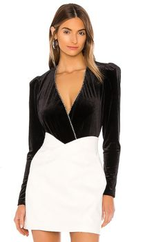 Shop for Parker Zanna Combo Bodysuit in Black at REVOLVE. Free day shipping and returns, 30 day price match guarantee. Bodysuit, Black And White, Formal Dresses, Shopping, Style, Fashion, Onesie, Dresses For Formal, Swag