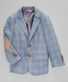 Look at this Isaac Mizrahi Gray Plaid Elbow-Patch Linen Blazer - Toddler & Boys on #zulily today!