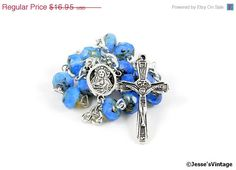 20% off Sale Forget Me Not Opal Czech Picasso Bead Catholic 1 Decade Auto Rosary Blue (13.56 USD) by JessesVintage
