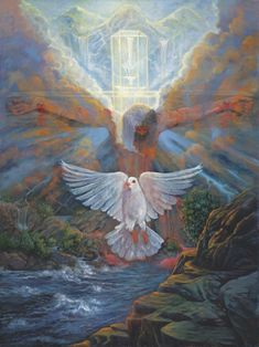 Jesus on Cross and Holy Spirit Dove before heaven. Relationship: The veil between man and God has been torn. At any time we can freely access God's throne. Bible Pictures, Jesus Pictures, Jesus E Maria, Religion, Christian Pictures, Prophetic Art, Jesus Is Lord, Christian Art, Christian Posters