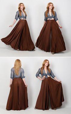 70s brown pleated mega wide leg palazzo pants.