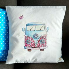 Campervan Cushion Cover. Artist Cushion. Camper. Campervan Cushion. Calico Cushion. Linen Cushion. Campervan Gift. by SueRocheIllustration on Etsy https://www.etsy.com/listing/254728105/campervan-cushion-cover-artist-cushion