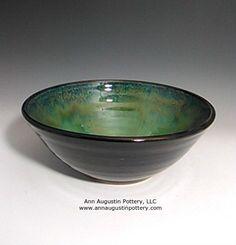 Black, green handmade stoneware ceramic serving bowl