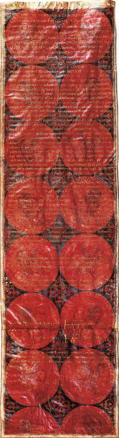 """Heiratsurkunde Kaiserin Theophanu - Otto II   Ein Blick auf das Thema auf Fassette   Fundstück der Woche   """"Wer die Inschrift entziffert und übersetzen kann, melde sich bitte bei der Fassette Redaktion."""""""