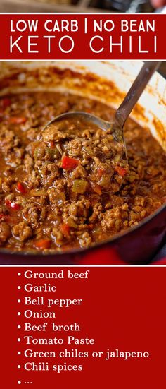 This No Bean Keto Chili Recipe is hearty and full of flavor, perfect for warming you up on a cold day or staying on track at any game day party. Plus, you can serve it to everyone and it will be a hit! # no bean chili recipes Keto Chili Recipe Ketogenic Recipes, Diet Recipes, Cooking Recipes, Ketogenic Diet, Dessert Recipes, Breakfast Recipes, Recipes Dinner, Protein Recipes, Diet Breakfast