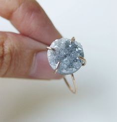 SALE 35% OFF:Gray druzy Ring OOAK Gold Filled by friedasophie