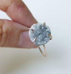 SALE 35% OFF:Gray druzy Ring OOAK Gold Filled by friedasophie