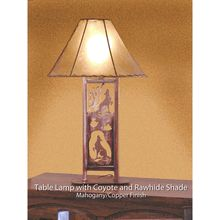 Our rustic copper table lamp with Southwestern theme.
