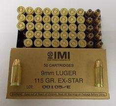 IMI9EXBOX 50Rrd Box of IMI 9mm EX-STAR HP Ammunition $16.50/ 50