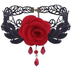 Red Gothic Flower Knitted Leaf Choker Necklace ($2.75) ❤ liked on Polyvore featuring jewelry, necklaces, leaf necklace, choker necklace, red jewelry, leaves necklace and gothic necklaces