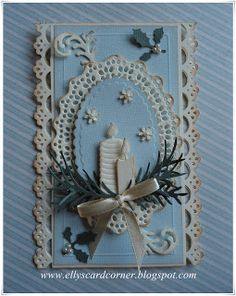 Elly's Card- Corner: Kerstkaart 10. Love the blue and white