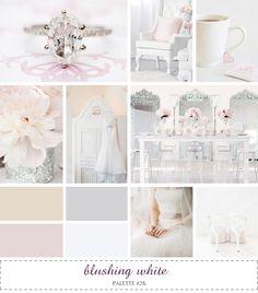 inspiration board - blushing white #tan #ivory #gray #pink #white