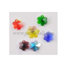 Electroplated Glass Pendants GX14mm-AB-1 - glass snowflake pendants