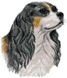 Cavalier Machine Embroidery Design in Photo Stitch Technique Advanced Embroidery, Sewing Machine Embroidery, King Charles Spaniel, Cavalier King Charles, Quilt Patterns, Sewing Patterns, Photo Stitch, Free Stencils, Love Sewing