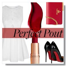 """""""♢STANDING IN A NICE DRESS, STARING AT THE SUNSET♢"""" by tamsy13 ❤ liked on Polyvore featuring beauty, Glamorous, Prada, Christian Louboutin, Kat Von D, vintage, REDLIP and contestentry"""