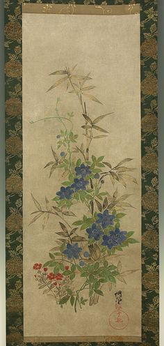 """OGATA KORIN (1658~1716)""""Bellflowr"""" Ogata Korin is known as the ancestor of Rin-pa. He was born in Kyoto. He spent a lot of money, and at 40 he was broke and to earn he started to paint seriously. He worked with his young brother Kenzan. His painting is based on Yamato-e, a lot of painting ways are used on his works. His interests in Noh plays, tea ceremony, practice of calligraphy influenced his painting ideas."""