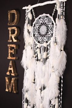 White Dreamcatcher Boho Dream Catcher Large white crochet dreamcatcher gift wedding ceremony photo backdrop Dreamcatcher Bohemian handmade Approximately 45.5 / 58 cm The shape of the natural branch can be partially different This amulet like Dreamcatcher http://laboheme.life/