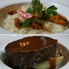"""Plutôt viande ou fruits de mer ? En haut, Risotto """"Carnaroli"""" aux moules de Bouchot cuites façon marinière. En bas, Paleron de bœuf confit au vin rouge, sauce pain d'épices et fricassée de pommes grenailles. Dans notre menu du jour de cette semaine à #lacloseriedijon , profitez-en ! #bourgogne #cotedor #dijon #restaurant #plats #seafood #meat #viande #fruitsdemer #food"""