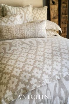 Introducing our Tokkat Bedding Collection made from linen fabrics from Spain. Inspired by Ikat and tribal fabrics, this rustic, natural bedding collection is woven in natural and off-white linen in an assortment of bold, global inspired decorative patterns. All are reversible and perfect for mixing and matching.  #globaldecor #globalbedroomdecor #globalbedroom #ikatbedding #ikatfabric #tribalbedroomdecor #luxurybohemianbedroom