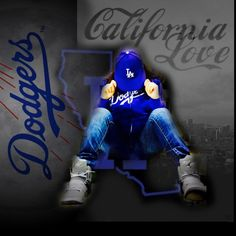 showing my California Love for my LA Dodgers thinking blue with my grey Jordan's flight sitting in Cali LA background