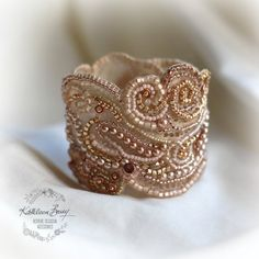 Rose gold lace cuff bracelet - pearl crystal bead embellished- wedding cuff - bridal accessories - rose gold and blush pink tones - copper Lace Bracelet, Pearl Bracelet, Beaded Bracelets, Lace Jewelry, Bridal Jewelry, Gold Lace, Rose Gold, Copper Rose, Bridal Cuff
