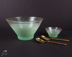 West Virginia Glass Blendo Green Salad or Chip and Dip Set - Gold Rim Frosted Pastel Ombre/Fade Mint Green - So Mid Century Modern Mad Men!