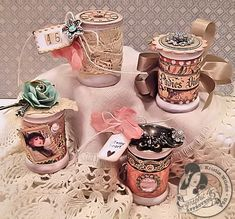 Lovely altered spools by Kristin Wilson using A Ladies' Diary papers by Totten Totten Nadal Altered Tins, Altered Bottles, Altered Art, Shabby Chic Crafts, Vintage Crafts, Vintage Sewing, Wooden Spool Crafts, Wood Spool, Wooden Projects