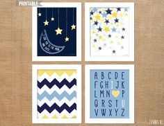 "PRINTABLE ""I Love You to the Moon and Back"" Group of 4- 8x10 Nursery Prints"