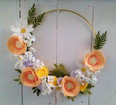Felt Flower Wreath // Spring Flowers Wreath // Modern Gold Hoop Wreath // Pink Felt Flower Wreath // Yellow and White Felt Wreath by OregonMeadowDesigns on Etsy https://www.etsy.com/listing/554174838/felt-flower-wreath-spring-flowers-wreath
