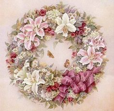 vintage lily wreath