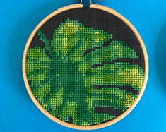 Monstera cross stitch pattern, 1 of 3, modern diy gift, make it yourself gift, plant cross stitch, hipster embroidery, swiss cheese plant