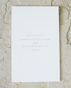 This couple's letterpressed programs had minimal text to emphasize the most important moments of the day.