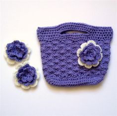 Girl's Crocheted Bag and Hair Clips Set