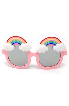 Loose Leaf Eyewear Large Round Rainbow Sunglasses available at Girl With Sunglasses, Kids Sunglasses, Funky Glasses, Claire's Accessories, Rainbow Outfit, Trending Sunglasses, Toys For Girls, Kids Wear, Nordstrom