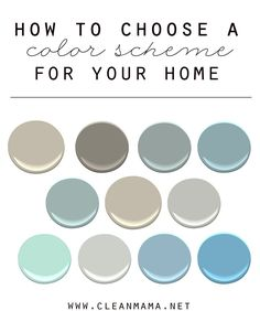 Tie all the colors in your home together with this beautiful Pottery Barn inspired palette. How to Choose a Color Scheme for your Home via Clean Mama Dark Paint Colors, Paint Color Schemes, House Color Schemes, Interior Paint Colors, Paint Colors For Home, House Colors, Home Interior Design, Interior Decorating, Decorating Ideas