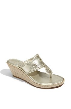 Metallics are the best neutral shoes b/c they go with everything. This platinum has a gold tint to it. Jack Rogers 'Marbella' Rope Sandal | Nordstrom