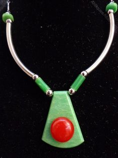 Jakob Bengel art deco galalith bakelite and chrome necklace