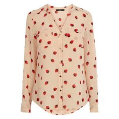 OASIS Strawberry Piped Yoke Shirt ❤ liked on Polyvore featuring tops, yoke top, beige top, yoke shirt, beige shirt and shirt top