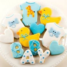 Baby Shower Ideas For Girls Food Favors Sugar Cookies 30 Ideas Fancy Cookies, Cut Out Cookies, Cute Cookies, Gateau Baby Shower, Baby Shower Cupcakes, Unisex Baby Shower, Baby Boy Shower, Baby Showers, Cookies Et Biscuits