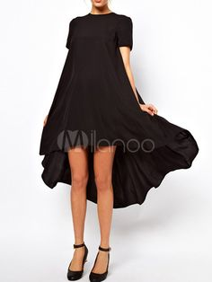 Chic Chiffon Solid Color Crewneck Short Sleeves Shift Dress For Women - Milanoo.com