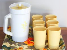 Retro / Vintage Tupperware Beverage Serving Set (Almond Harvest Gold) | Trade Me