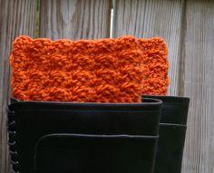 Boot Cuffs in Pumpkin Orange Puff Crochet by CandacesCloset, $28.00