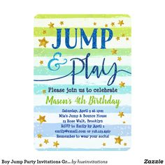 Boy Jump Party Invitations Green Blue Bounce Play Jump and play! Boys jump party bounce house invitation in green and blue stripes with gold glitter stars.