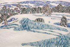 David Milne, Le Banc de neige, Boston Corners, New York, Canadian Painters, Canadian Artists, David Milne, Franklin Carmichael, Boston, Tom Thomson, Snow Scenes, Watercolor Techniques, Snow