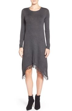 kensie Fringe Handkerchief Hem Sweater Dress available at #Nordstrom